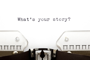 what's your story? old typewriter pic for copywriting and blogging home page