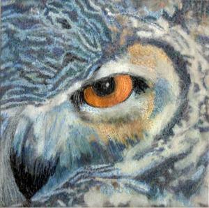 Nicola Haigh's owl embroidery for Shropshire Hills Art Week