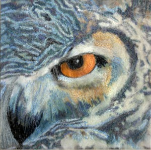Nicola Haigh's owl embroidery for Shropshire Hills Art Week
